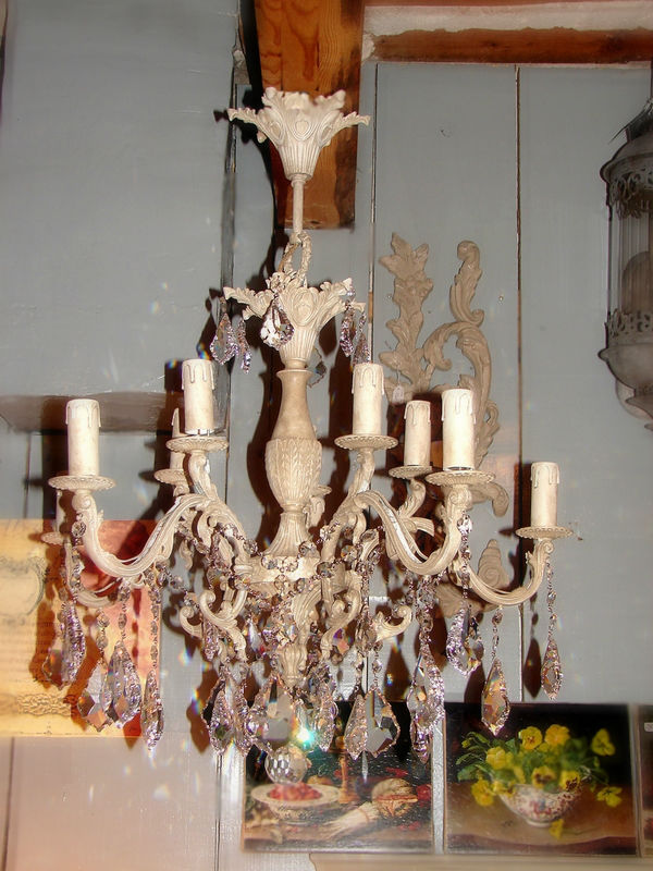 lustre patin pampilles chandelier french decor shabby chic et romantique. Black Bedroom Furniture Sets. Home Design Ideas