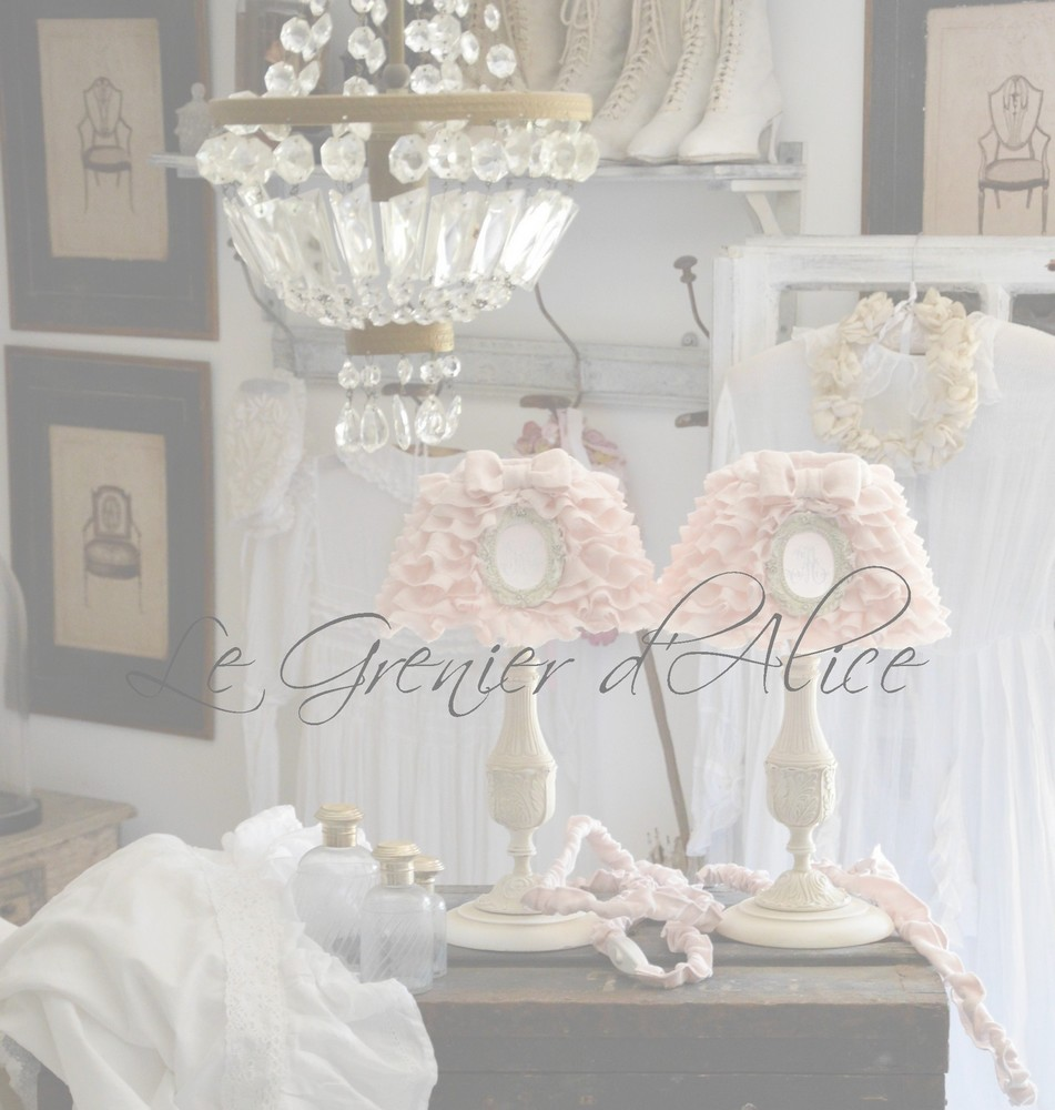 le grenier d 39 alice abat jour romantiques shabby chic style deco de charme cosy. Black Bedroom Furniture Sets. Home Design Ideas