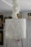 Suspension abat jour shabby chic romantique broderie dentelle blanche romantic lampshade french nordique inspiration french decor decoration de charme